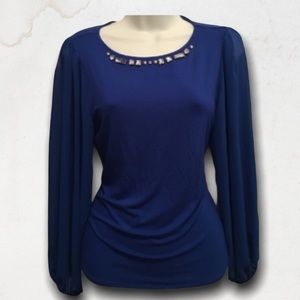 VINCE CAMUTO Electric Blue Long Sleeves Top